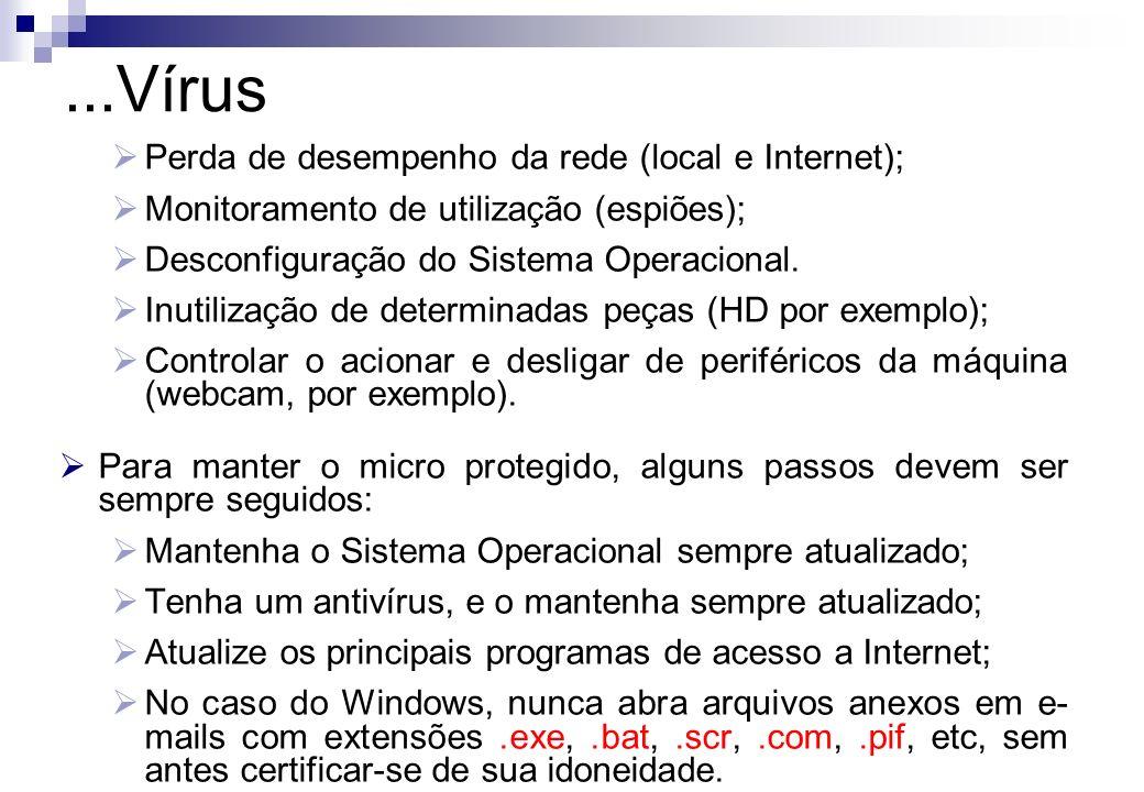 ...Vírus Perda de desempenho da rede (local e Internet);