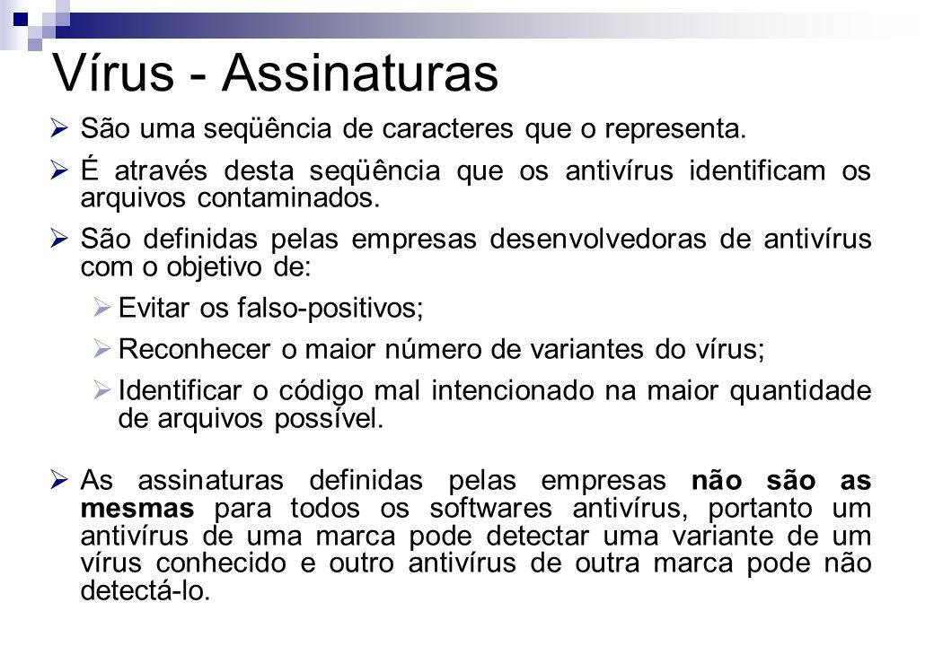 Vírus - Assinaturas São uma seqüência de caracteres que o representa.