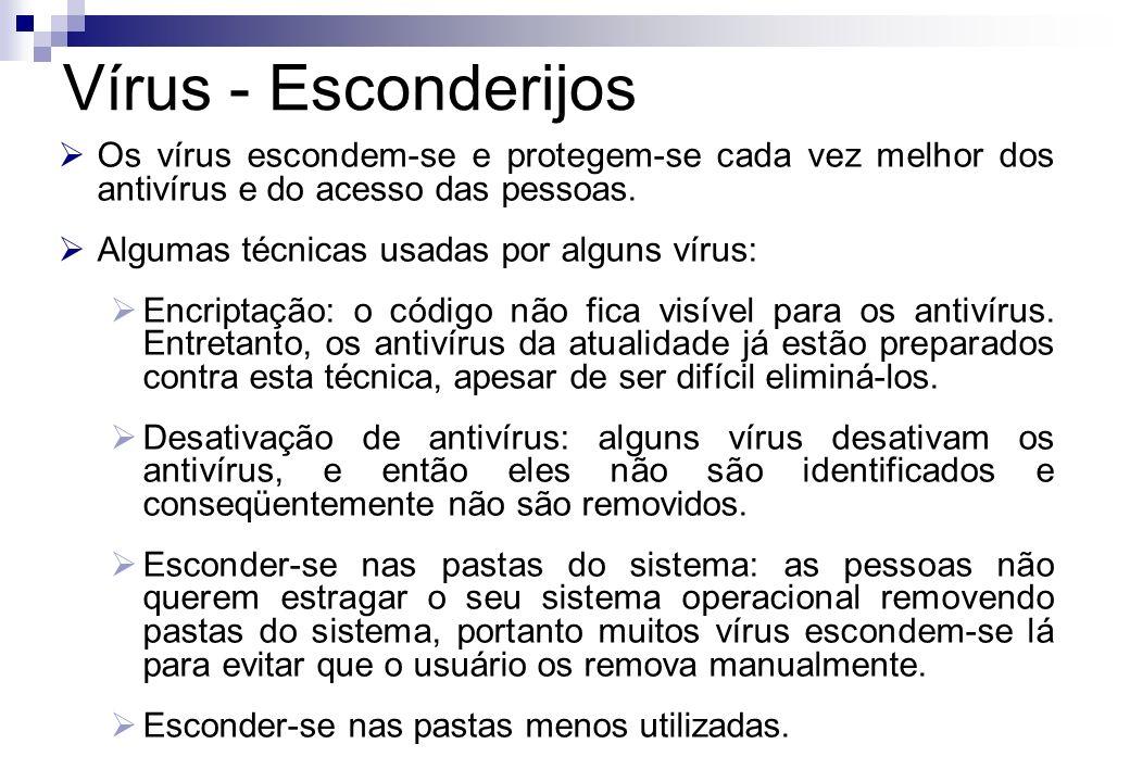 Vírus - Esconderijos Os vírus escondem-se e protegem-se cada vez melhor dos antivírus e do acesso das pessoas.