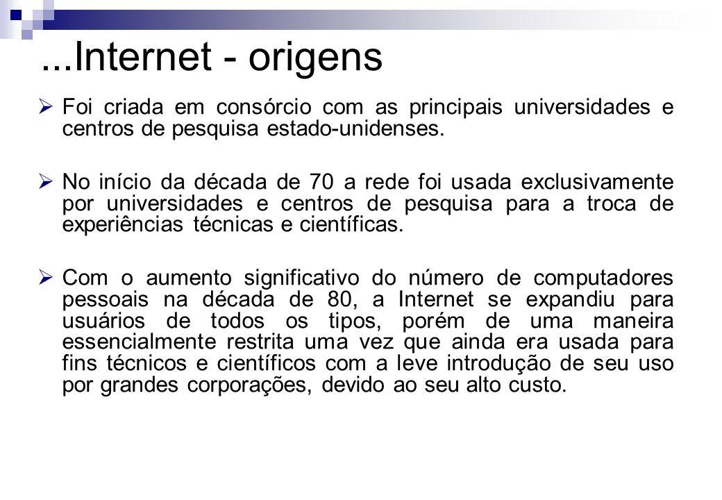 ...Internet - origens Foi criada em consórcio com as principais universidades e centros de pesquisa estado-unidenses.