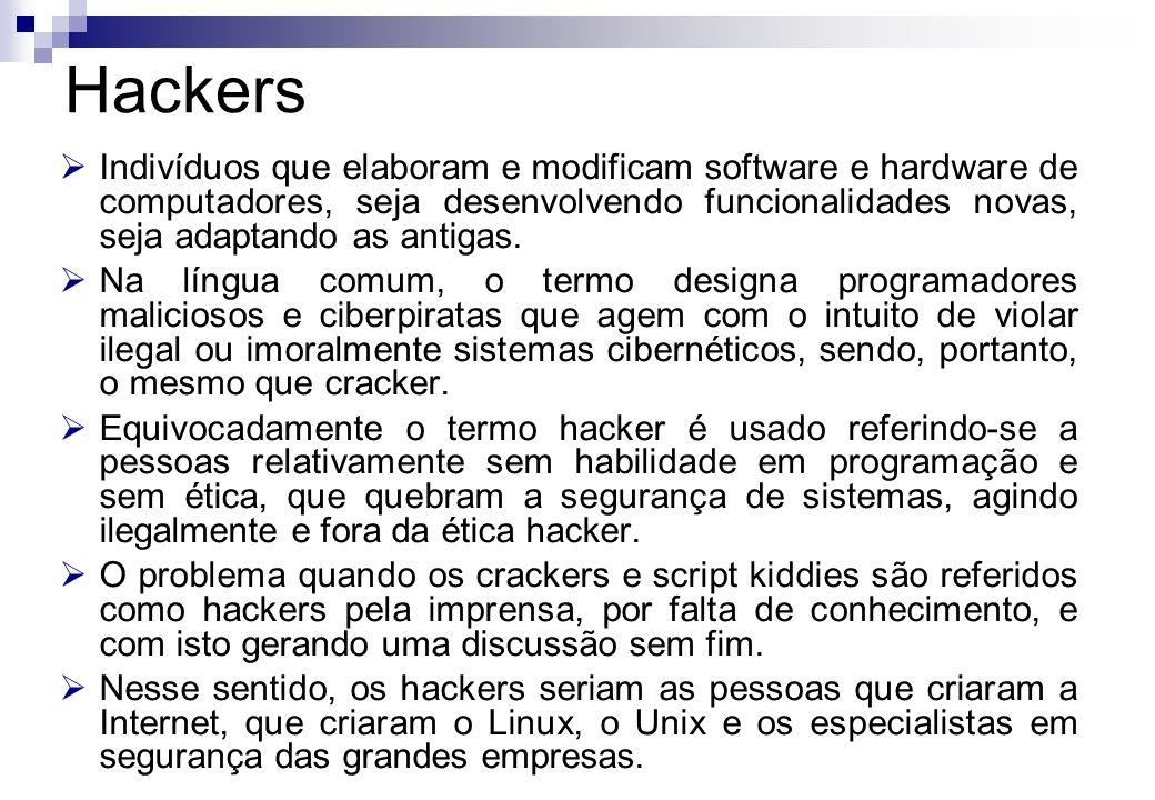 Hackers Indivíduos que elaboram e modificam software e hardware de computadores, seja desenvolvendo funcionalidades novas, seja adaptando as antigas.