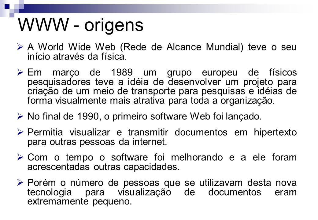 WWW - origens A World Wide Web (Rede de Alcance Mundial) teve o seu início através da física.