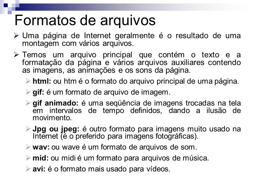 Formatos de arquivosUma página de Internet geralmente é o resultado de uma montagem com vários arquivos.