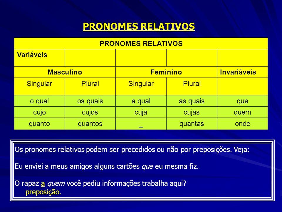 PRONOMES RELATIVOS PRONOMES RELATIVOS Variáveis Masculino Feminino