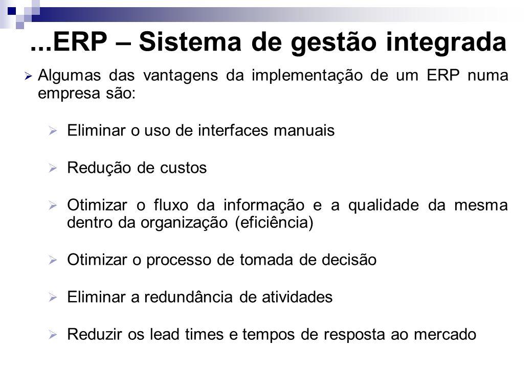...ERP – Sistema de gestão integrada