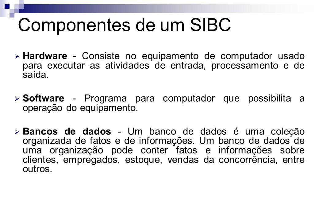 Componentes de um SIBC Hardware - Consiste no equipamento de computador usado para executar as atividades de entrada, processamento e de saída.