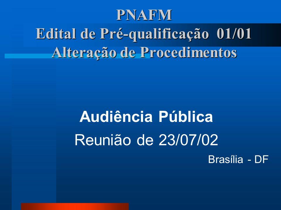 PNAFM Edital de Pré-qualificação 01/01 Alteração de Procedimentos