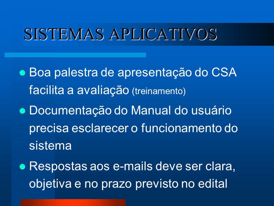 SISTEMAS APLICATIVOS Boa palestra de apresentação do CSA facilita a avaliação (treinamento)