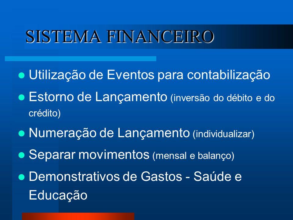 SISTEMA FINANCEIRO Utilização de Eventos para contabilização
