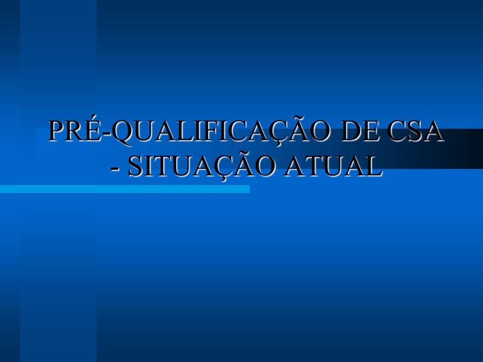 PRÉ-QUALIFICAÇÃO DE CSA - SITUAÇÃO ATUAL