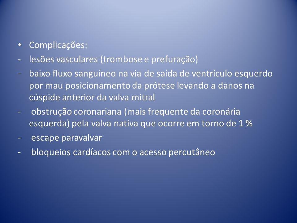 Complicações: lesões vasculares (trombose e prefuração)
