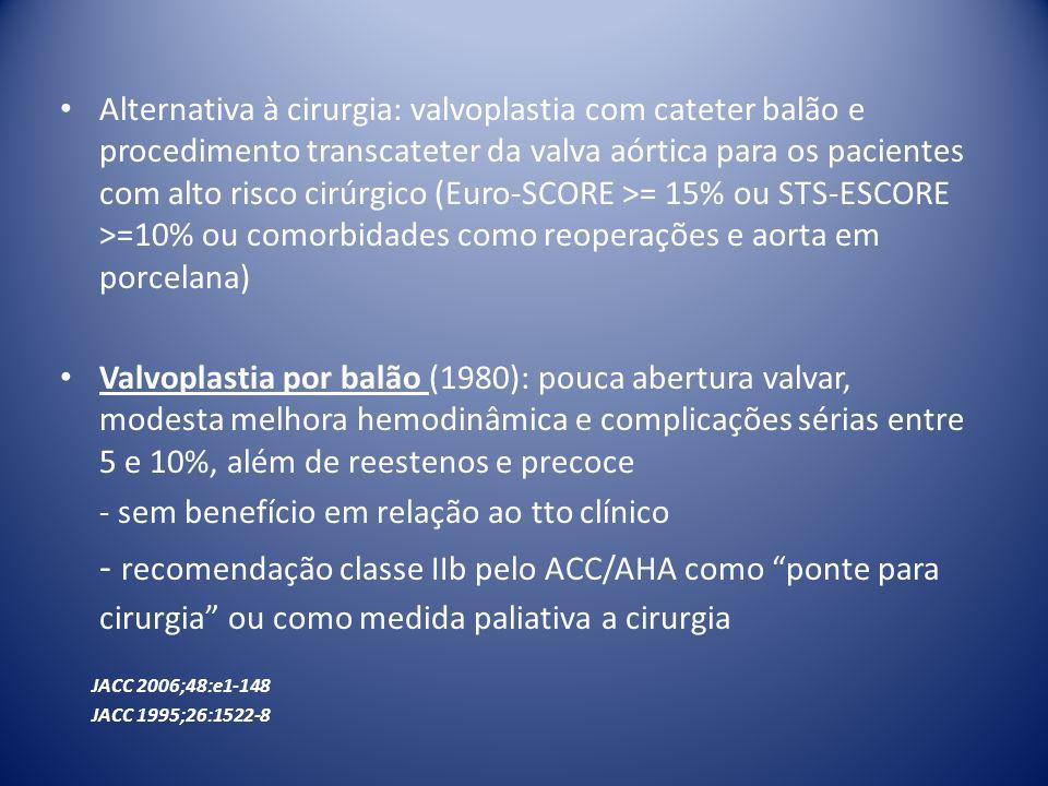 - sem benefício em relação ao tto clínico
