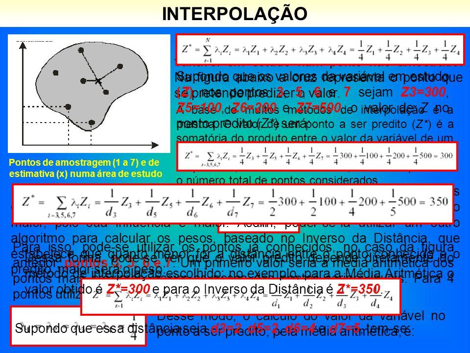 Pontos de amostragem (1 a 7) e de estimativa (x) numa área de estudo