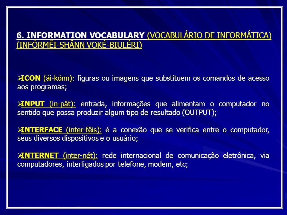 6. INFORMATION VOCABULARY (VOCABULÁRIO DE INFORMÁTICA) (INFÓRMÊI-SHÂNN VOKÉ-BIULÉRI)