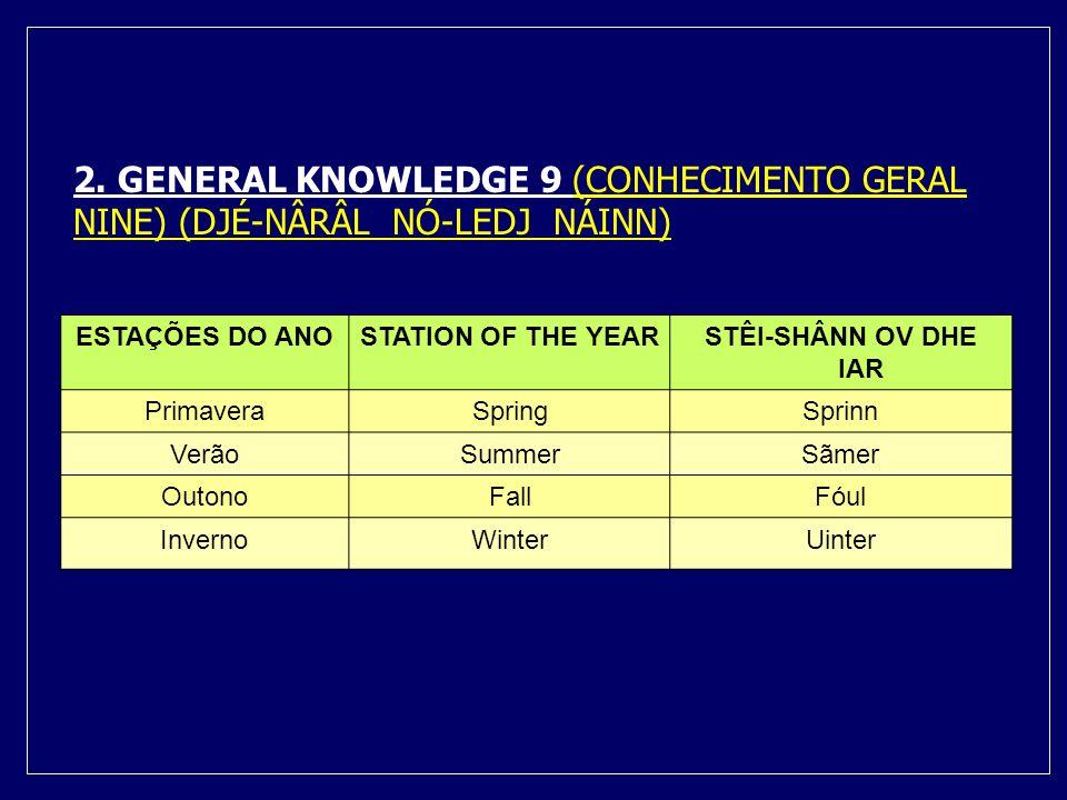 2. GENERAL KNOWLEDGE 9 (CONHECIMENTO GERAL NINE) (DJÉ-NÂRÂL NÓ-LEDJ NÁINN)