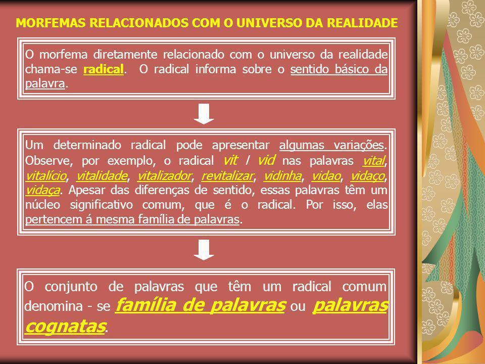 MORFEMAS RELACIONADOS COM O UNIVERSO DA REALIDADE