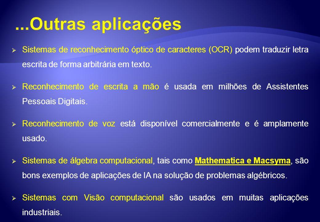...Outras aplicações Sistemas de reconhecimento óptico de caracteres (OCR) podem traduzir letra escrita de forma arbitrária em texto.