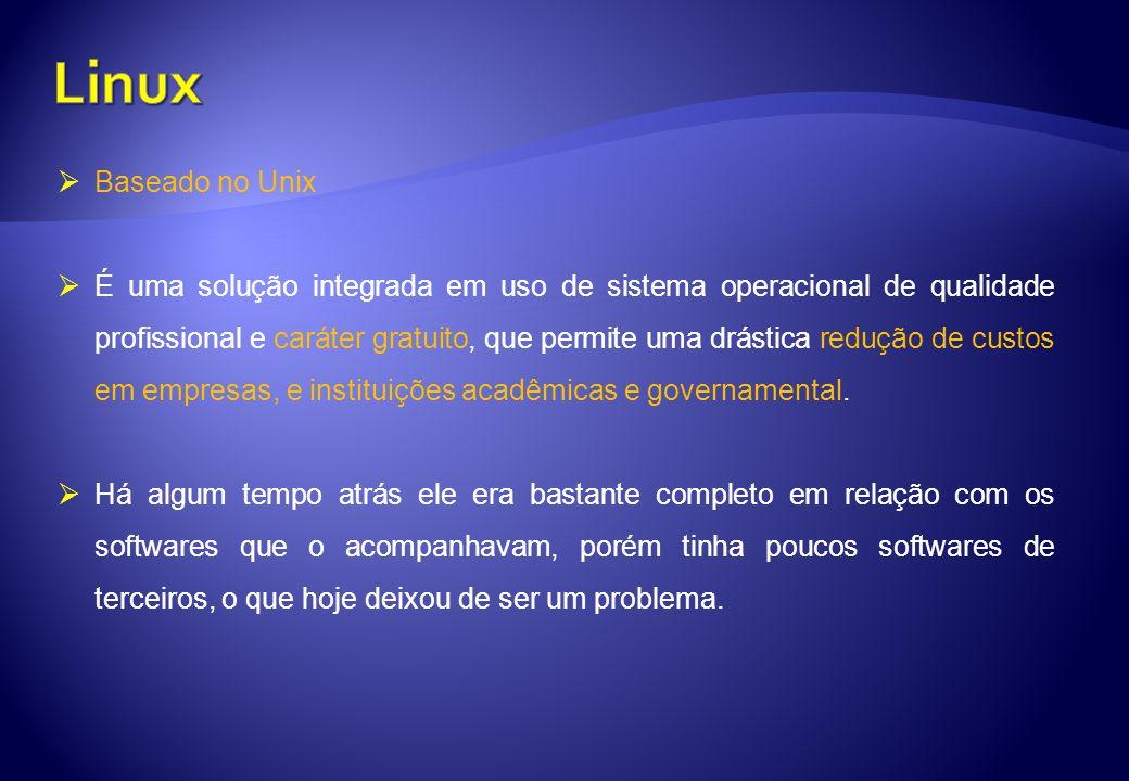 Linux Baseado no Unix.