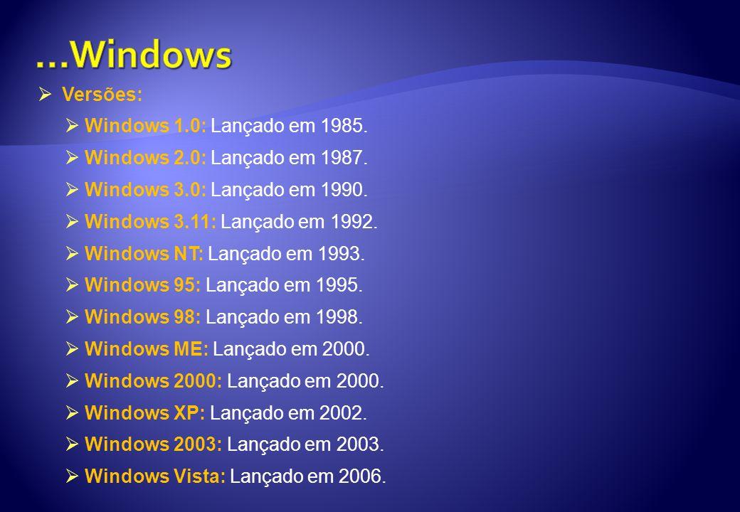 ...Windows Versões: Windows 1.0: Lançado em 1985.