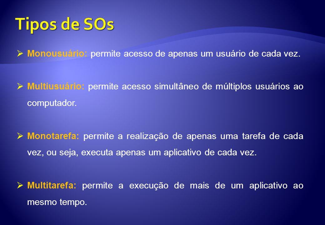 Tipos de SOs Monousuário: permite acesso de apenas um usuário de cada vez.