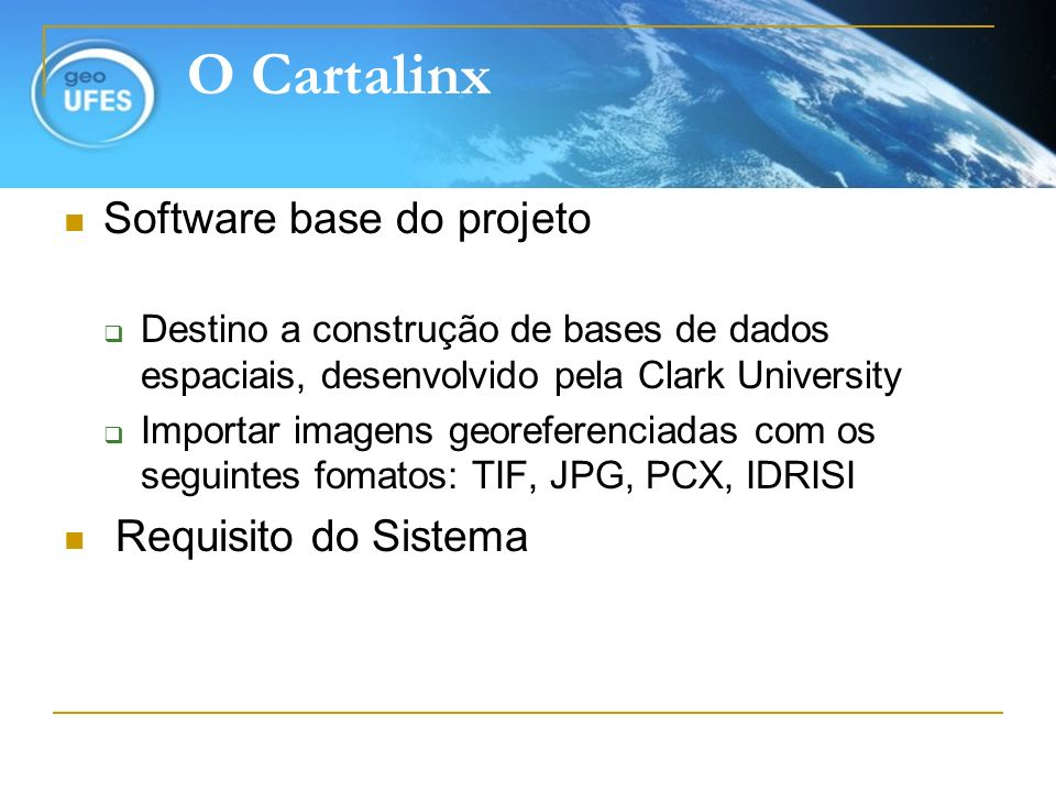O Cartalinx Software base do projeto Requisito do Sistema