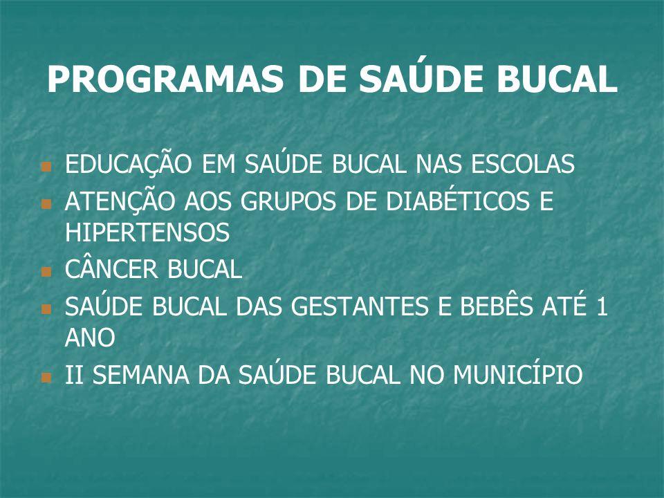 PROGRAMAS DE SAÚDE BUCAL