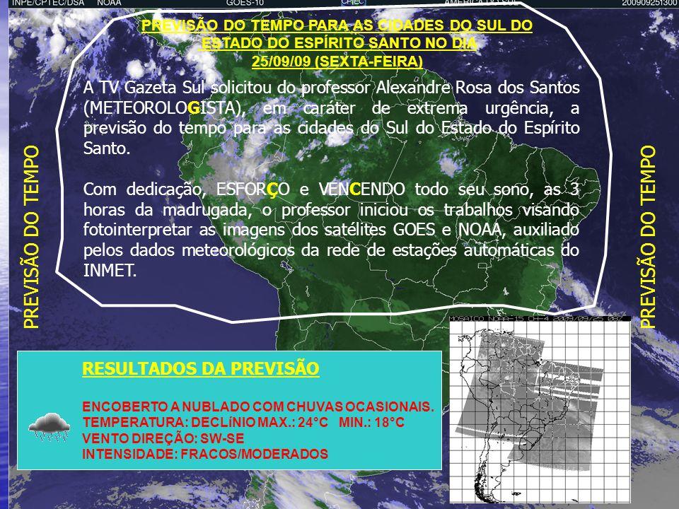PREVISÃO DO TEMPO PREVISÃO DO TEMPO PARA AS CIDADES DO SUL DO. ESTADO DO ESPÍRITO SANTO NO DIA. 25/09/09 (SEXTA-FEIRA)