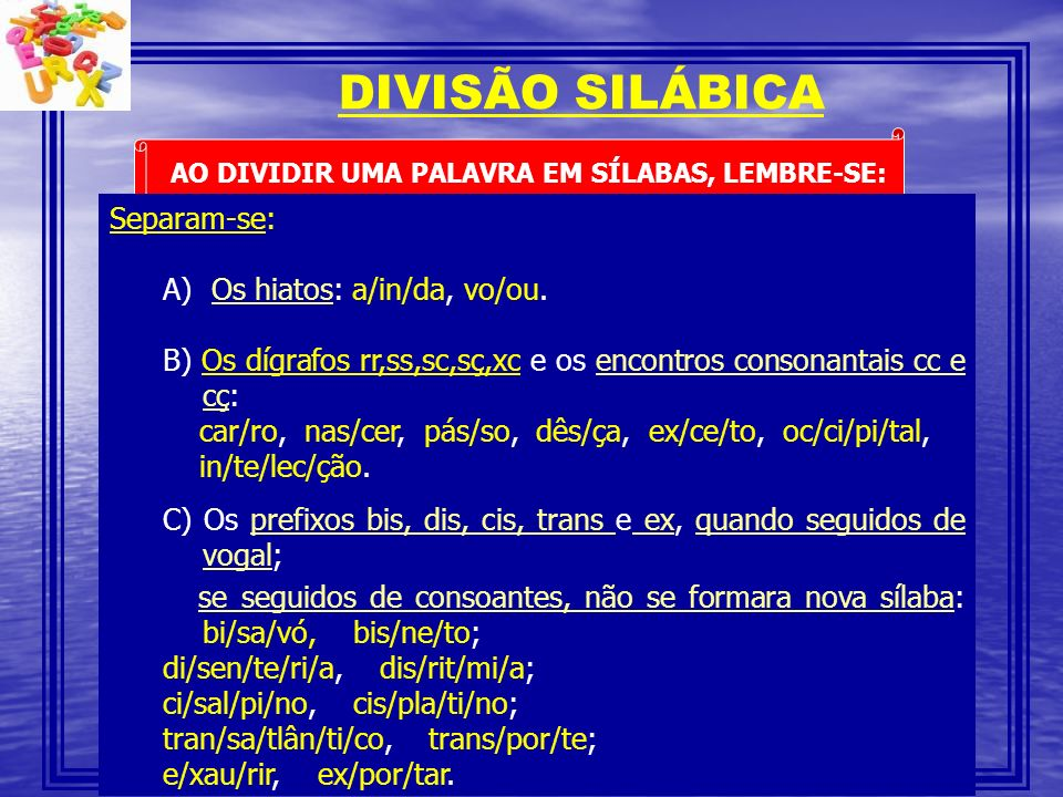 DIVISÃO SILÁBICA Separam-se: Os hiatos: a/in/da, vo/ou.