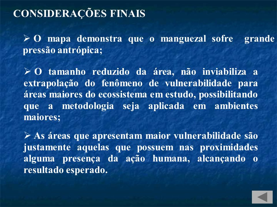 CONSIDERAÇÕES FINAIS O mapa demonstra que o manguezal sofre grande pressão antrópica;