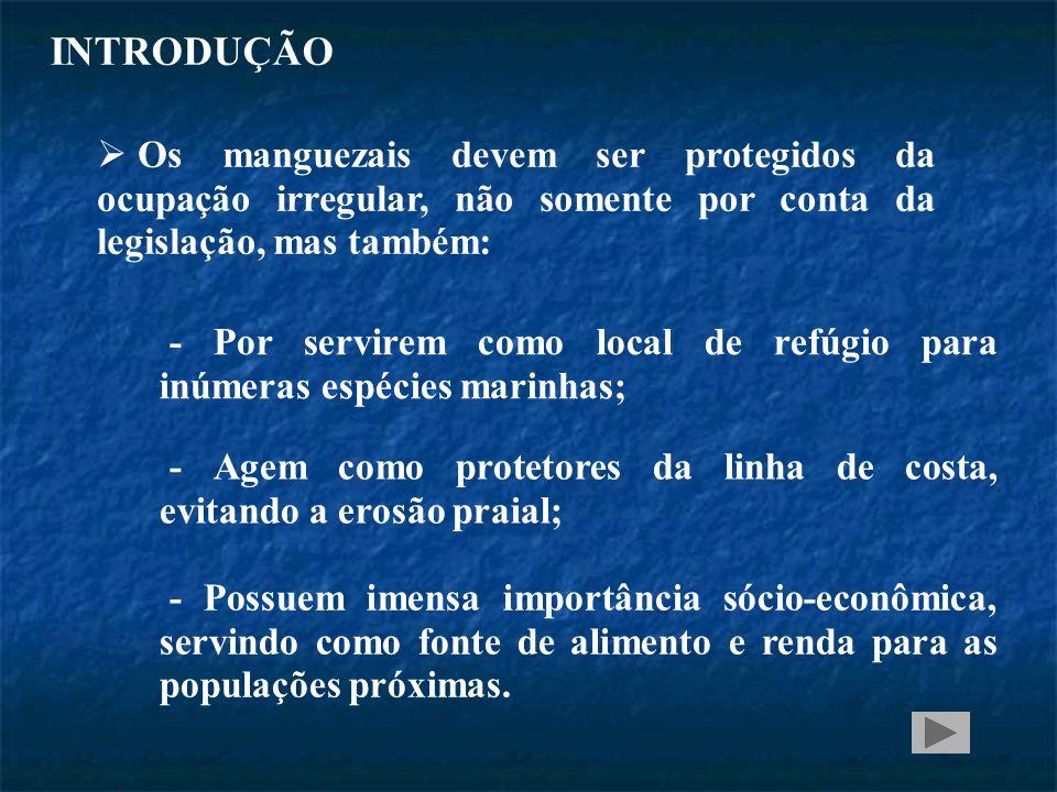INTRODUÇÃO Os manguezais devem ser protegidos da ocupação irregular, não somente por conta da legislação, mas também: