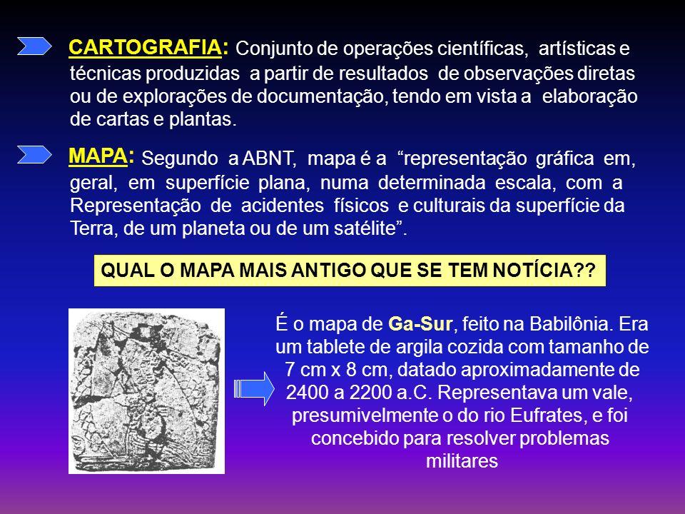 CARTOGRAFIA: MAPA: Conjunto de operações científicas, artísticas e