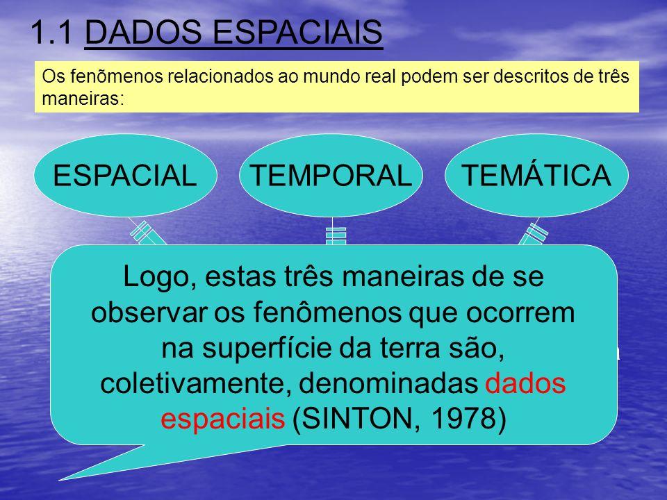 1.1 DADOS ESPACIAIS ESPACIAL TEMPORAL TEMÁTICA