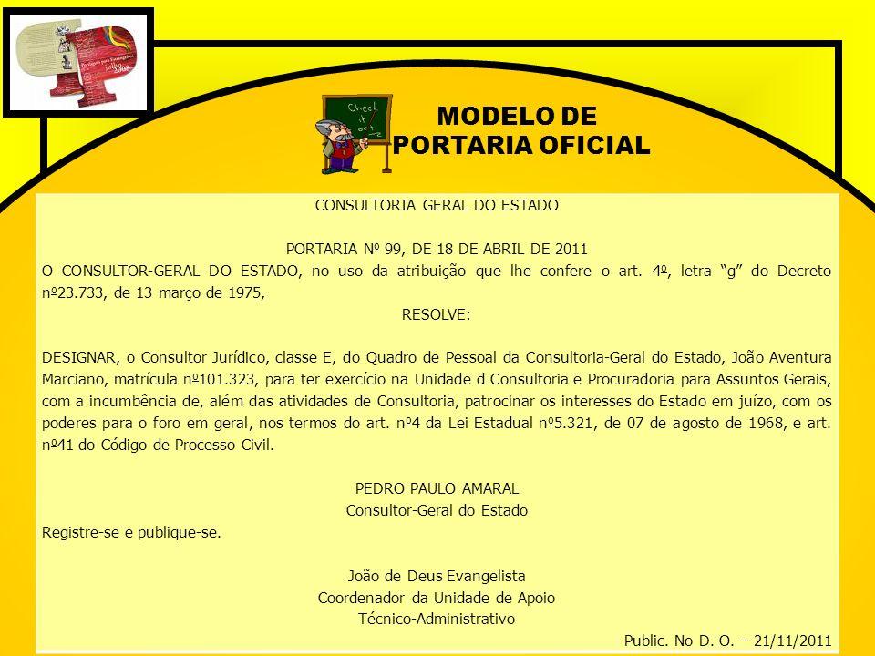 MODELO DE PORTARIA OFICIAL