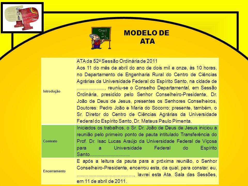 MODELO DE ATA ATA da 52a Sessão Ordinária de 2011