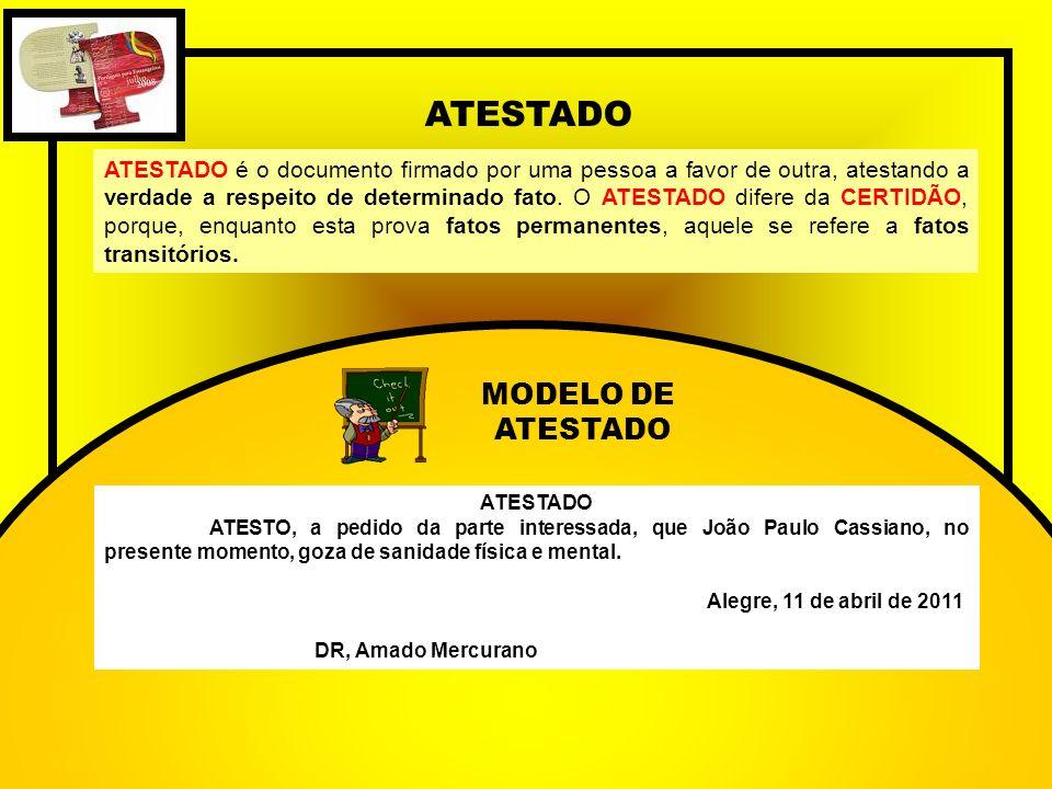 ATESTADO MODELO DE ATESTADO