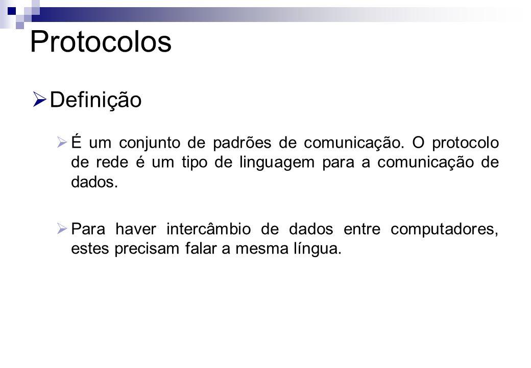 Protocolos Definição. É um conjunto de padrões de comunicação. O protocolo de rede é um tipo de linguagem para a comunicação de dados.