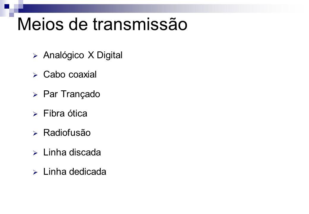 Meios de transmissão Analógico X Digital Cabo coaxial Par Trançado