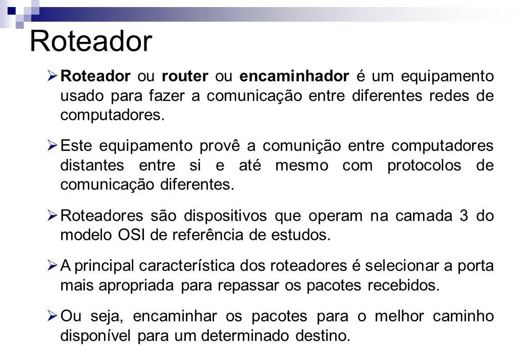 Roteador Roteador ou router ou encaminhador é um equipamento usado para fazer a comunicação entre diferentes redes de computadores.