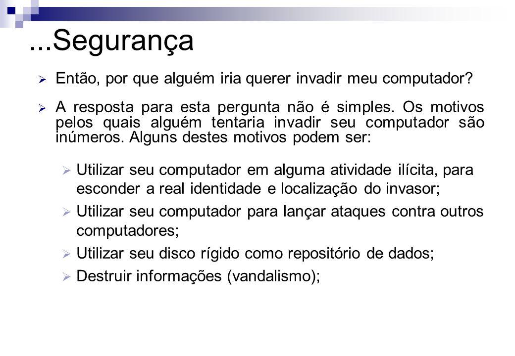 ...Segurança Então, por que alguém iria querer invadir meu computador