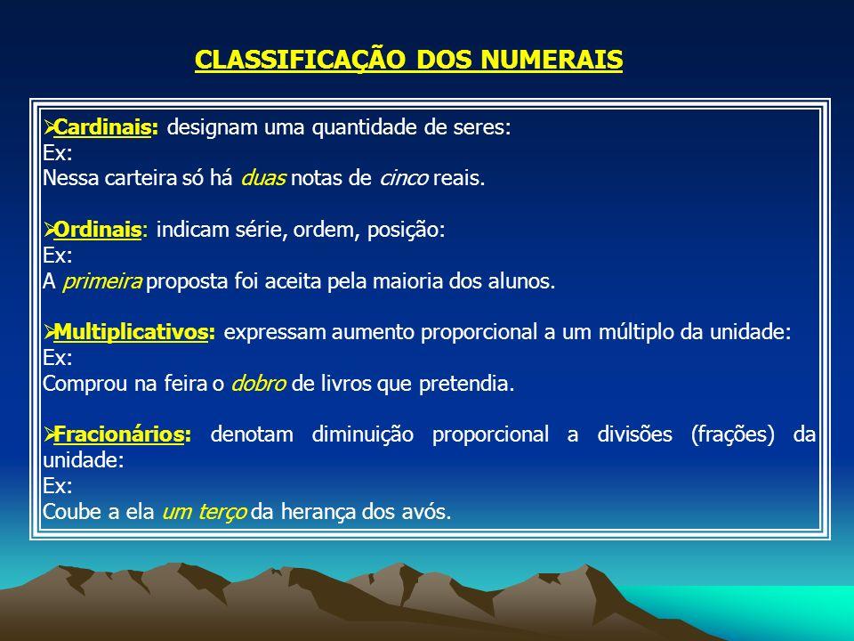CLASSIFICAÇÃO DOS NUMERAIS