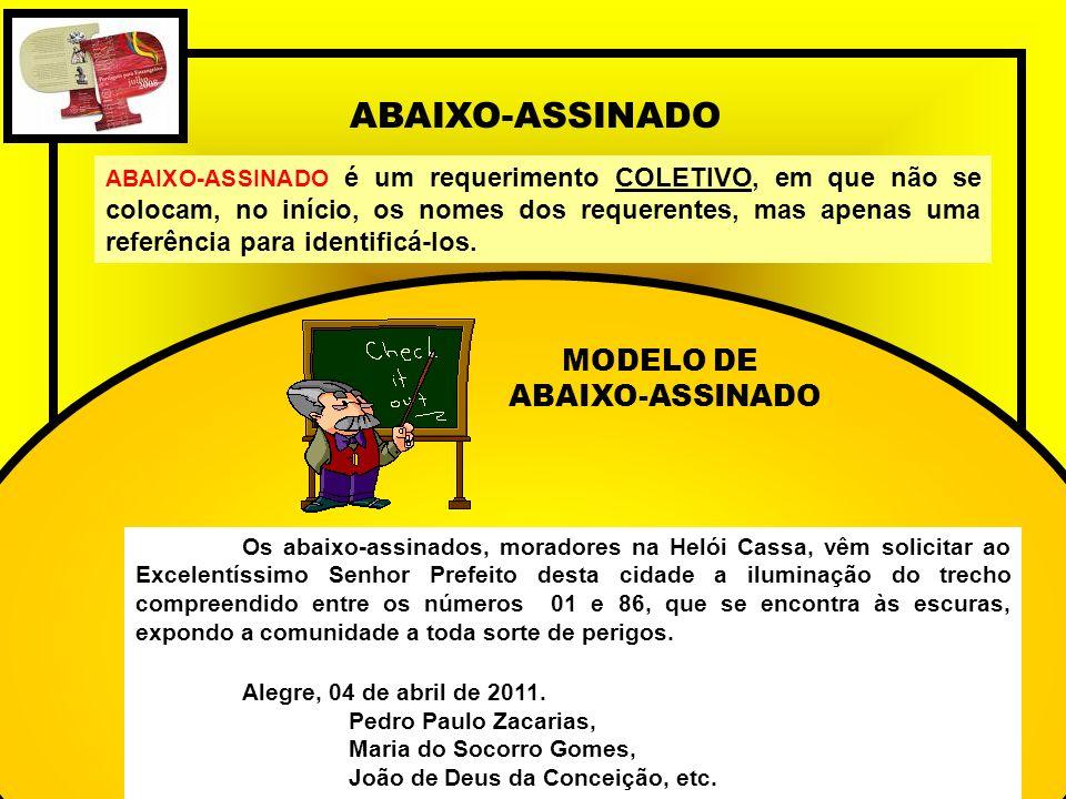 ABAIXO-ASSINADO MODELO DE ABAIXO-ASSINADO