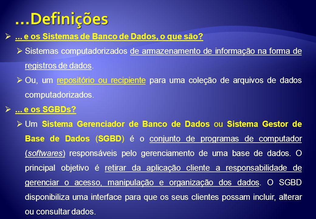 ...Definições ... e os Sistemas de Banco de Dados, o que são