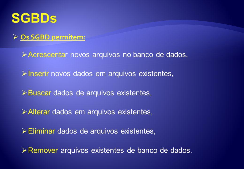 SGBDs Os SGBD permitem: Acrescentar novos arquivos no banco de dados,