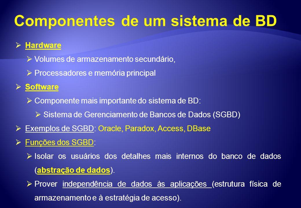 Componentes de um sistema de BD