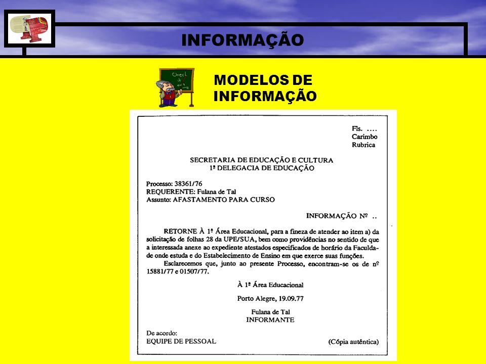 INFORMAÇÃO MODELOS DE INFORMAÇÃO