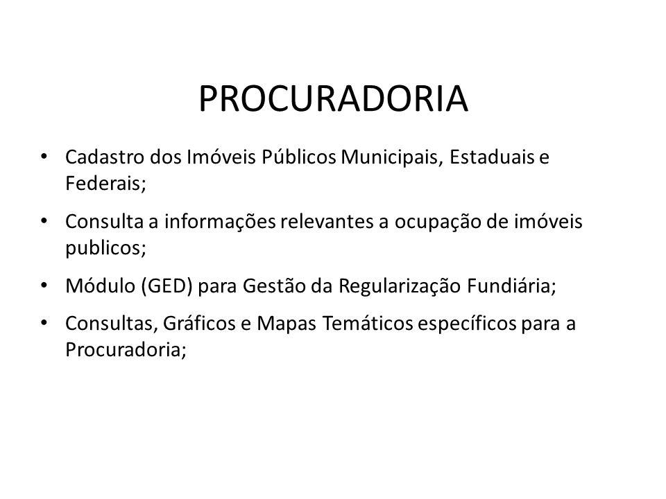 PROCURADORIA Cadastro dos Imóveis Públicos Municipais, Estaduais e Federais; Consulta a informações relevantes a ocupação de imóveis publicos;