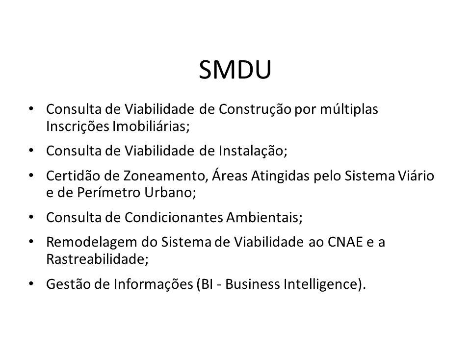 SMDUConsulta de Viabilidade de Construção por múltiplas Inscrições Imobiliárias; Consulta de Viabilidade de Instalação;