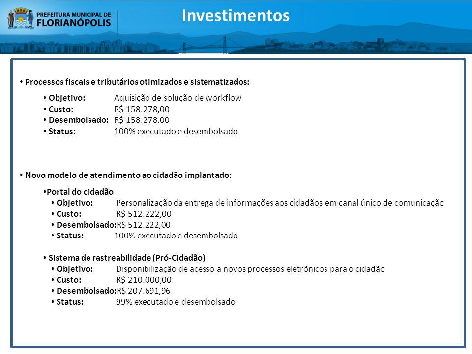Investimentos Processos fiscais e tributários otimizados e sistematizados: Objetivo: Aquisição de solução de workflow.