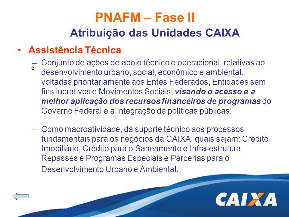 PNAFM – Fase II Atribuição das Unidades CAIXA Assistência Técnica