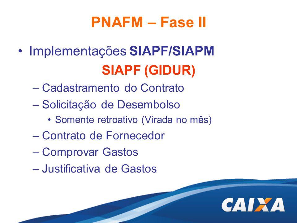 PNAFM – Fase II Implementações SIAPF/SIAPM SIAPF (GIDUR)